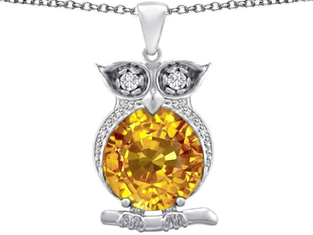 Star K Large 10mm Round Simulated Citrine Good Luck Owl Pendant Necklace in Sterling Silver