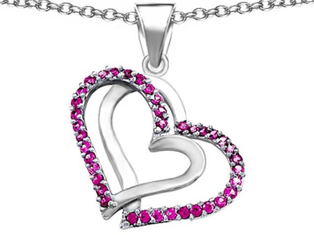 Star K Round Created Pink Sapphire Double Hearts Pendant in Sterling Silver