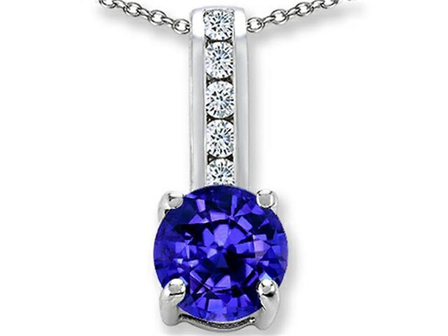 Star K Simulated Tanzanite Round 7mm Pendant Necklace in Sterling Silver