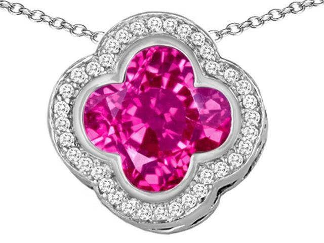 Star K Large Clover Pendant with 12mm Clover Cut Created Pink Sapphire in Sterling Silver