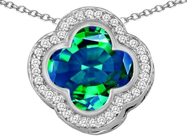 Star K Large Clover Pendant Necklace with 12mm Clover Cut Simulated Emerald in Sterling Silver