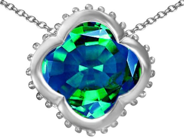 Star K Large Clover Pendant with 12mm Clover Cut Simulated Emerald in Sterling Silver
