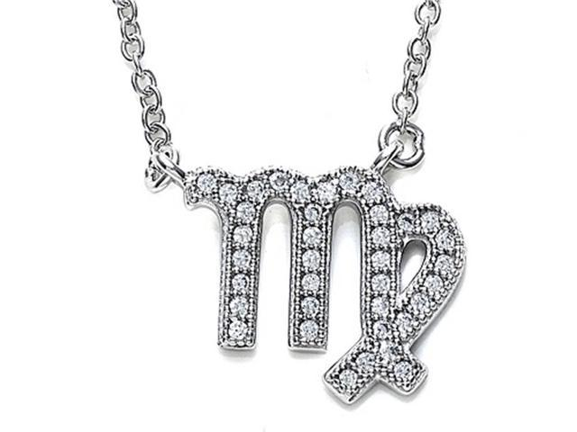 Zoe R Sterling Silver Micro Pave Hand Set Cubic Zirconia CZ Virgo Zodiac Pendant Necklace On 18 Inch Adjustable Chain