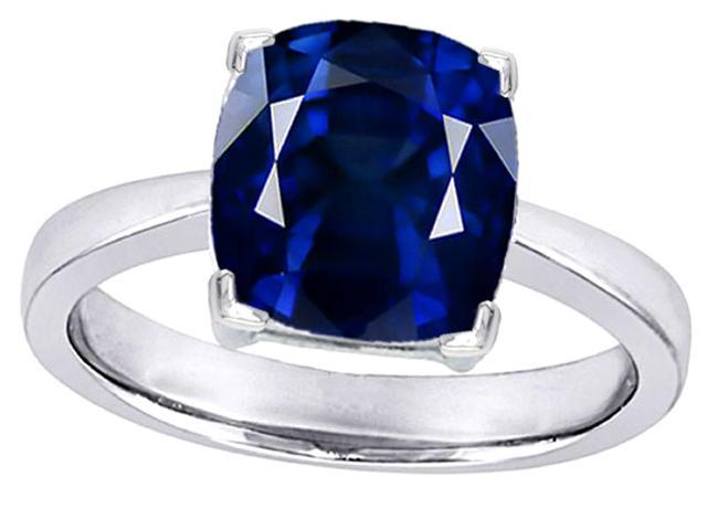 Star K Large 10mm Cushion Cut Solitaire Ring with Simulated Sapphire in Sterling Silver Size 8