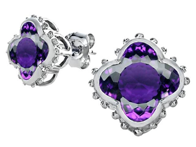 Star K Clover Earrings Studs with 8mm Clover Cut Simulated Amethyst in Sterling Silver
