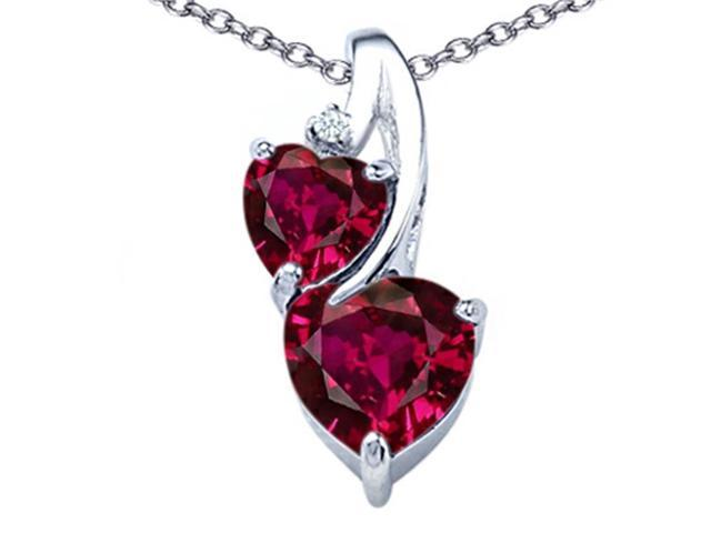 Star K 8mm Heart Shape Created Ruby Double Hearts Pendant in Sterling Silver
