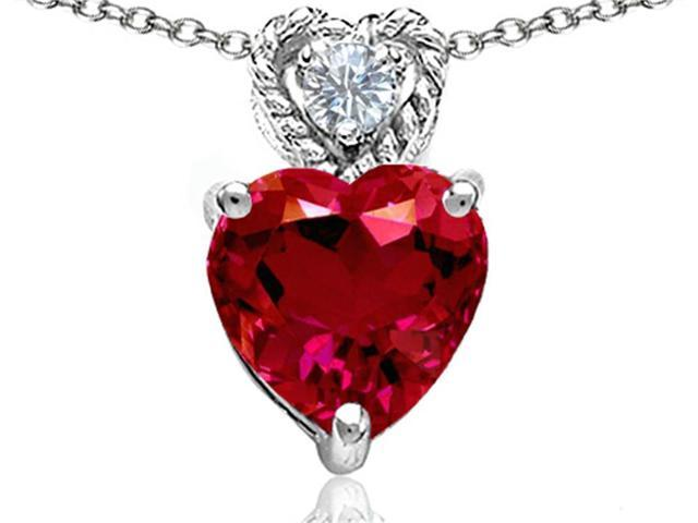 Star K 8mm Heart Shape Created Ruby Pendant in Sterling Silver
