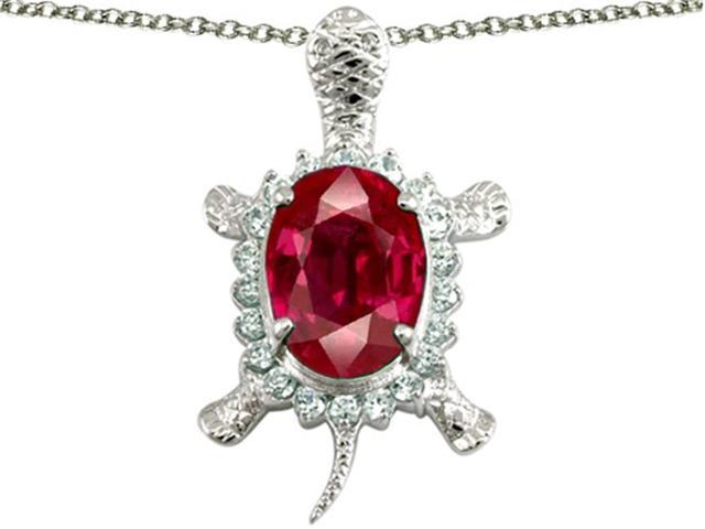 Star K Good Luck Turtle Pendant with Oval 12x10mm Created Ruby in Sterling Silver