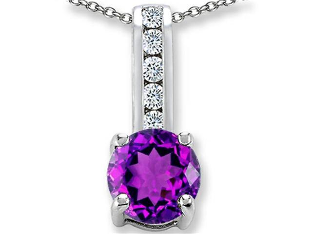 Star K Round 7mm Simulated Amethyst Pendant Necklace in Sterling Silver