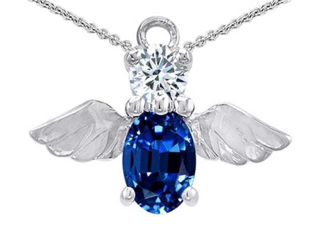 Star K Angel Of Love Protection Pendant with Oval 8x6mm Created Sapphire in Sterling Silver