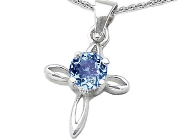 Star K Round Simulated Aquamarine Cross Pendant in Sterling Silver