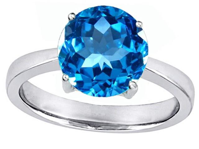 Star K Large Solitaire Big Stone Ring with 10mm Round Simulated Blue Topaz in Sterling Silver Size 6