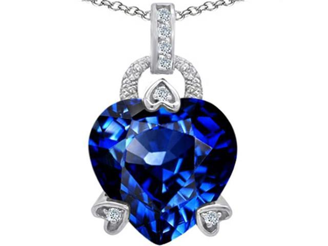 Star K Large Lock Love Heart Pendant Necklace with 13mm Heart Shape Simulated Sapphire in Sterling Silver