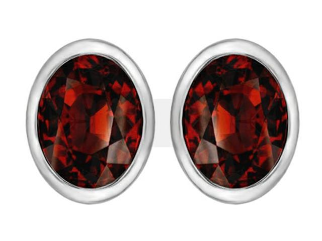 Star K 8x6mm Oval Simulated Garnet Earrings Studs in Sterling Silver