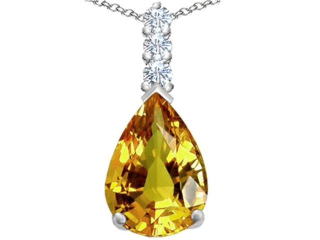 Star K Large 14x10mm Pear Shape Simulated Citrine Pendant Necklace in Sterling Silver