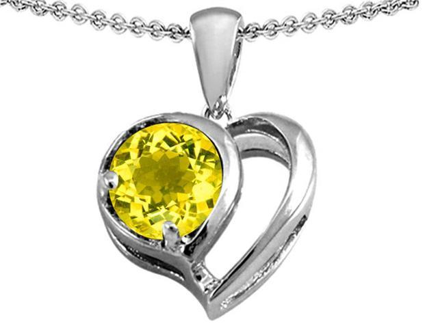 Star K Heart Shape Pendant with Round 7mm Simulated Citrine in Sterling Silver