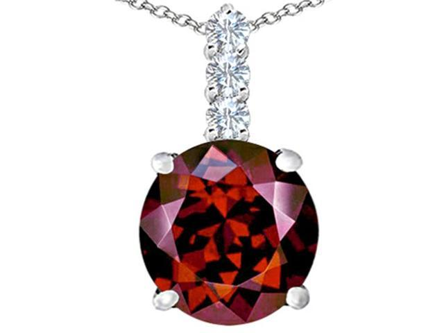 Star K Large 12mm Round Simulated Garnet Pendant in Sterling Silver