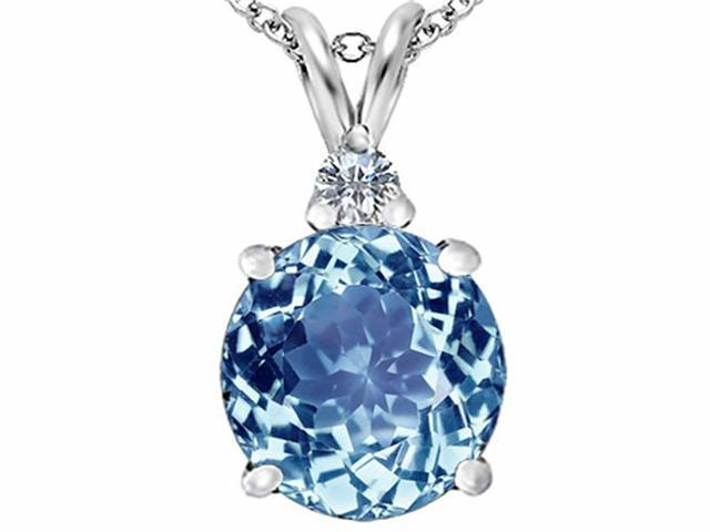 Star K Large 12mm Round Simulated Aquamarine Pendant Necklace in Sterling Silver