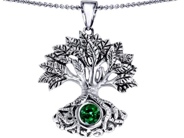 Star K Tree Of Life Good Luck Pendant with 7mm Round Simulated Emerald in Sterling Silver