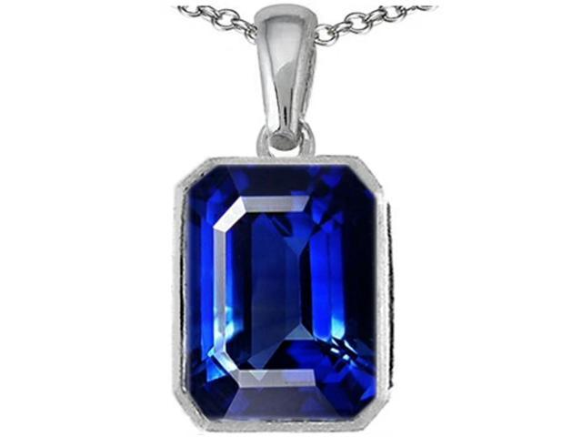 Star K Emerald Cut 10x8mm Created Sapphire Pendant Necklace in Sterling Silver