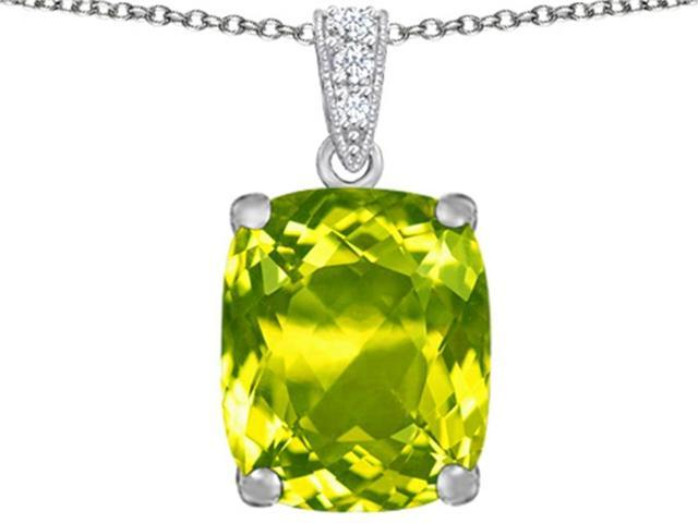 Star K Large 12x10mm Cushion Cut Simulated Peridot Pendant in Sterling Silver