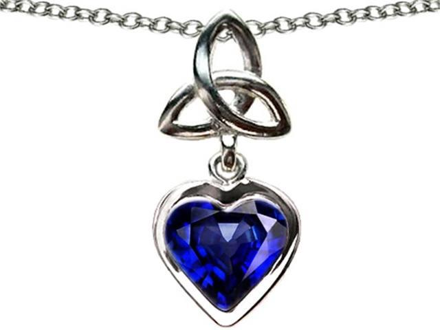 Star K Love Knot Pendant with Heart 9mm Simulated Sapphire in Sterling Silver
