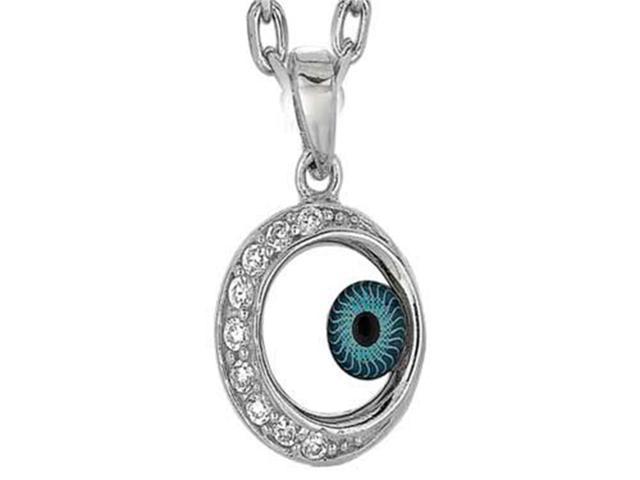 Sterling Silver 18 Inch Round Evil Eye Pendant