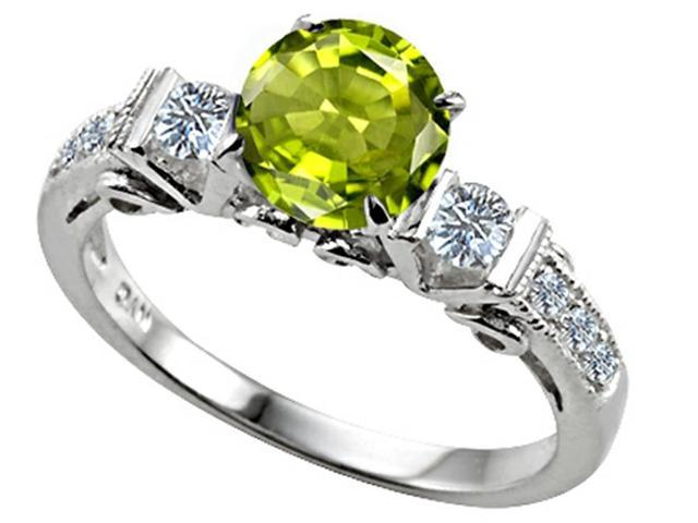 Star K Classic 3 Stone Ring with Round 7mm Genuine Peridot in Sterling Silver Size 6