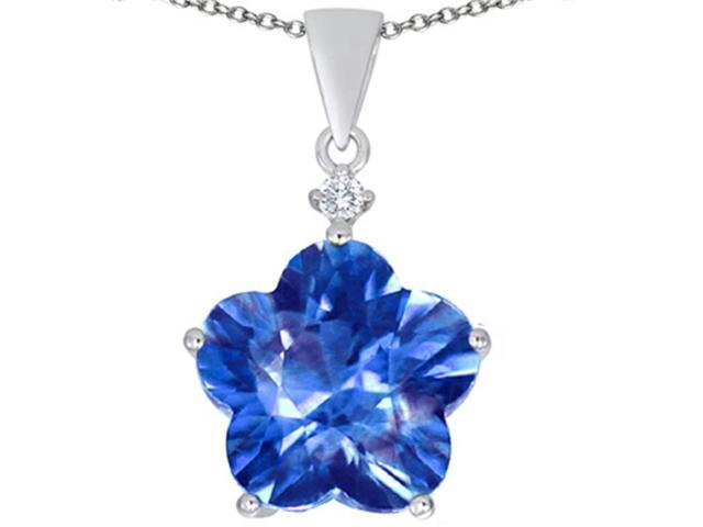 Star K Large 14mm Flower Shape Star Pendant Necklace with Simulated Blue Topaz in Sterling Silver