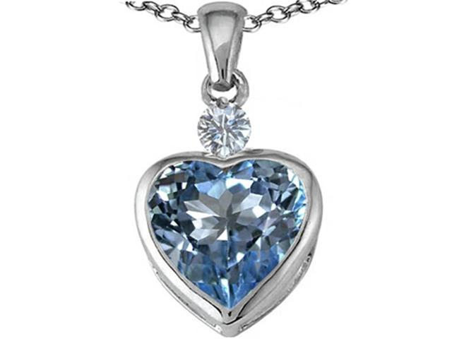 Star K 10mm Heart Shape Simulated Aquamarine Heart Pendant in Sterling Silver