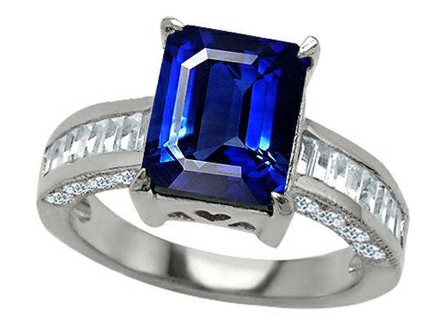 Star K 10x8mm Emerald Cut Created Sapphire Ring in Sterling Silver Size 7