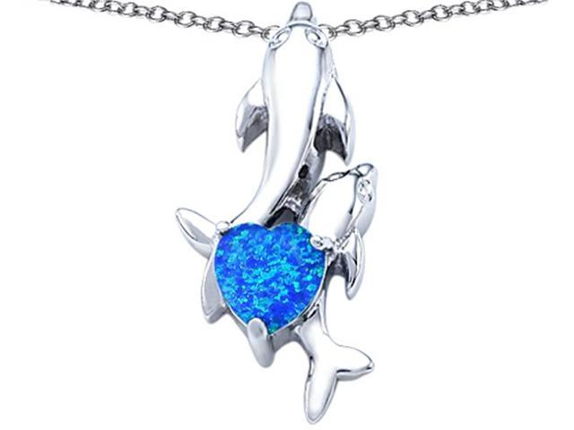Star K 7mm Heart Shape Blue Created Opal Two Swimming Dolphin Pendant Necklace in Sterling Silver