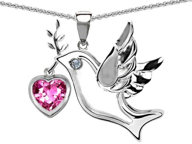 Star K Peace Love Dove Pendant with Heart Shape 7mm Created Pink Sapphire in Sterling Silver