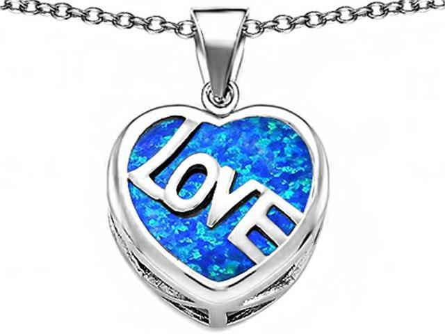 Star K Large Love Heart Pendant Necklace with 15mm Heart Shape Blue Created Opal in Sterling Silver