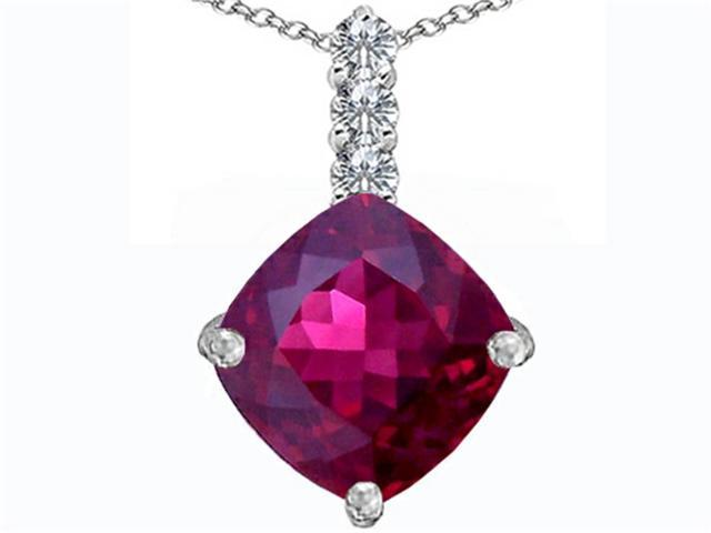 Star K Large 12mm Cushion Cut Created Ruby Pendant in Sterling Silver
