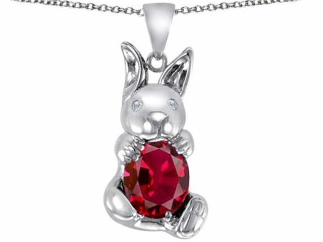 Star K Love Bunny Pendant with Created Ruby Oval 10x8mm in Sterling Silver