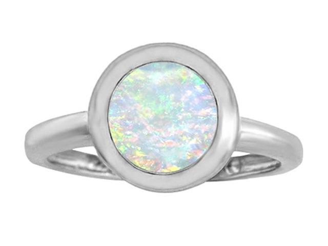Star K 8mm Round Solitaire Ring with Simulated Opal in Sterling Silver Size 5