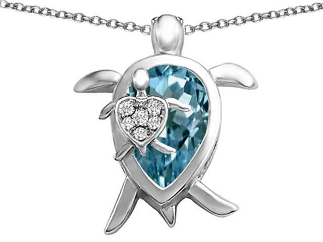 Star K Large Mother and Baby Turtle family Pendant with 12x8mm Pear Shape Simulated Aquamarine in Sterling Silver
