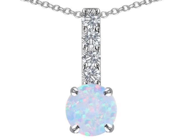 Star K Round Simulated Opal Pendant in Sterling Silver
