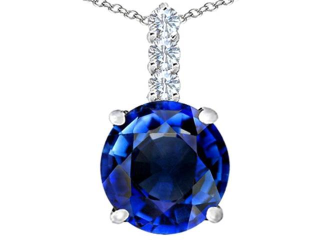 Star K Large 12mm Round Created Sapphire Pendant Necklace in Sterling Silver