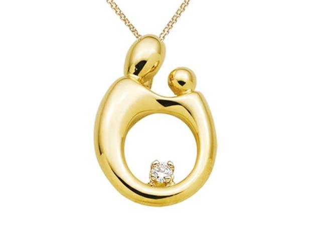 Large Mother and Child Pendant Necklace by Janel Russell in 14 kt Yellow Gold
