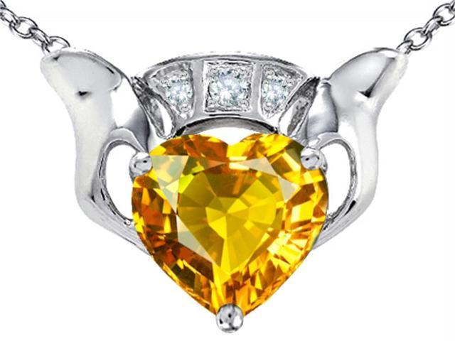 Star K 8mm Heart Claddagh Pendant Necklace with Simulated Citrine in Sterling Silver