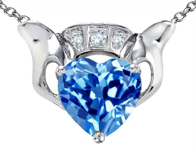 Celtic Love by Kelly 8mm Heart Claddagh Pendant with Simulated Blue Topaz in Sterling Silver