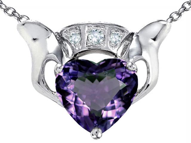 Star K 8mm Heart Claddagh Pendant Necklace with Simulated Alexandrite in Sterling Silver