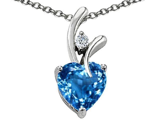 1.95 cttw Original Star K(TM) Genuine Heart Shaped Blue Topaz Pendant