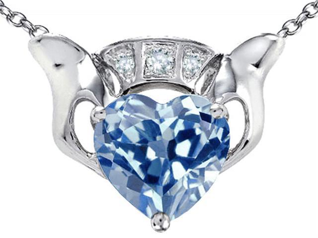 Star K 8mm Heart Claddagh Pendant Necklace with Simulated Aquamarine in Sterling Silver