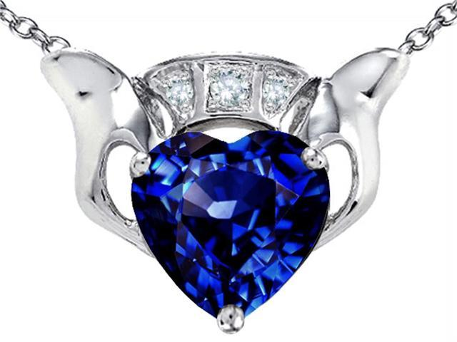 Star K 8mm Heart Claddagh Pendant Necklace with Created Sapphire in Sterling Silver