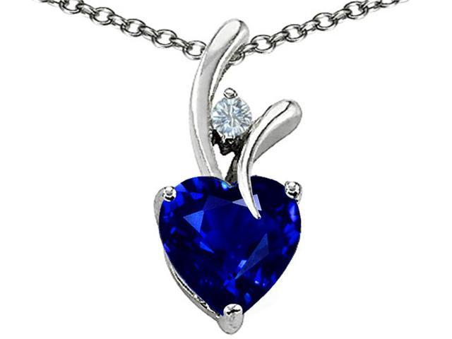 Star K 1.95 CTW Heart Shaped 8mm Created Sapphire in Sterling Silver Pendant Necklace 18