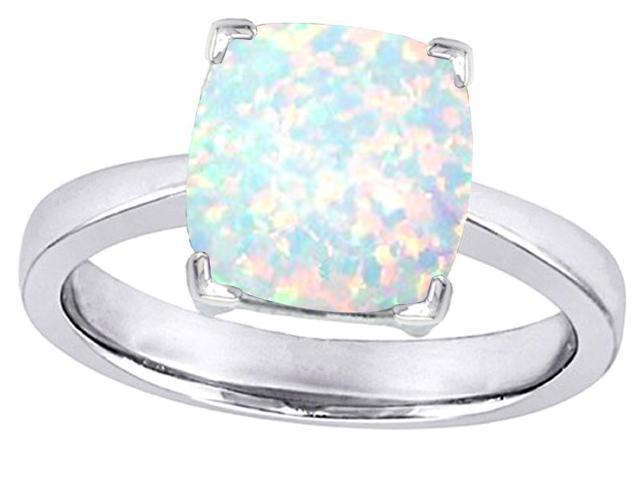 Star K 8mm Cushion Cut Solitaire Ring with Simulated Opal in Sterling Silver Size 7