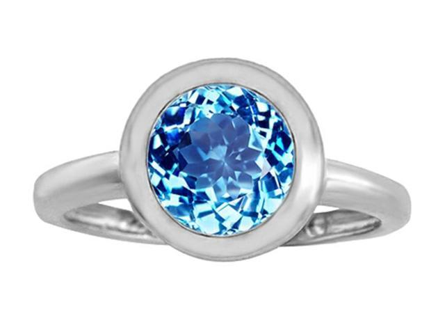 Star K 8mm Round Solitaire Ring with Simulated Blue Topaz in Sterling Silver Size 6